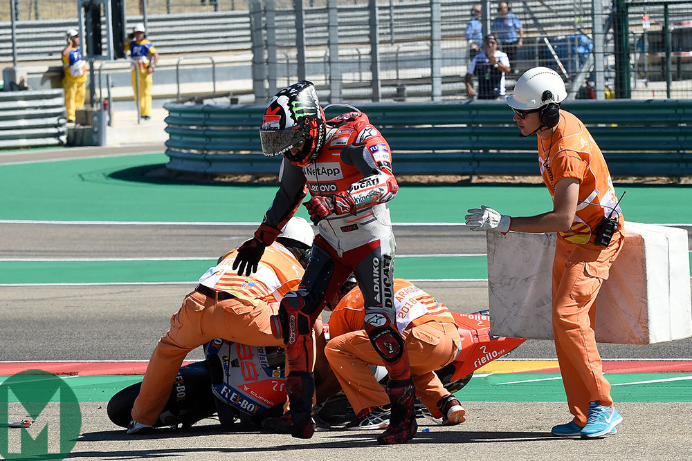 Lorenzo 2018 crash Aragon