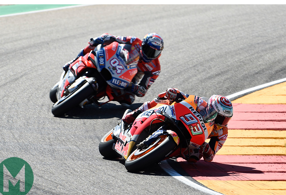 Marquez chased by Dovizioso at Aragon
