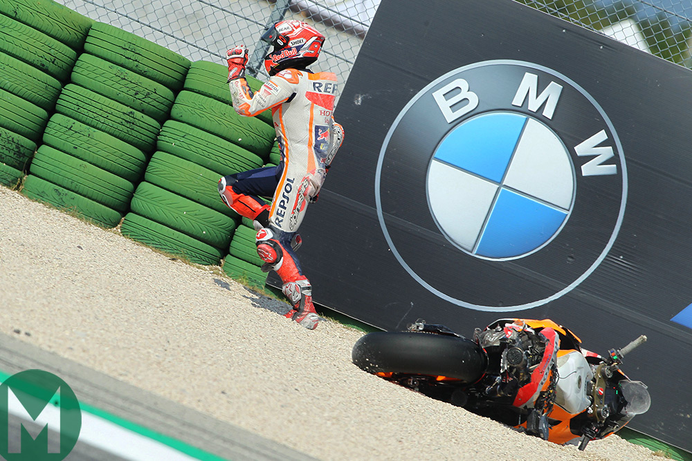 Marquez racing back to the MotoGP pits during Misano Grand Prix