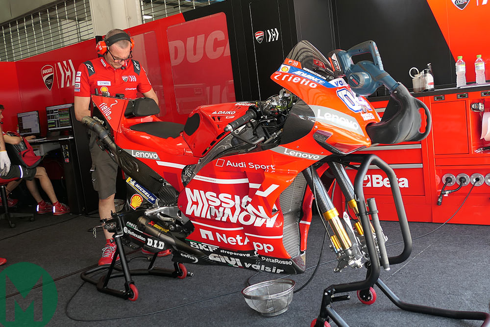 Ducati GP 19 Sepang winter test in garage
