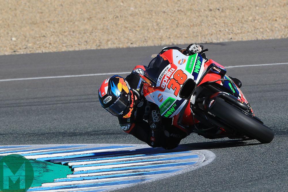 Bradley Smith tests the MotoGP Aprilia