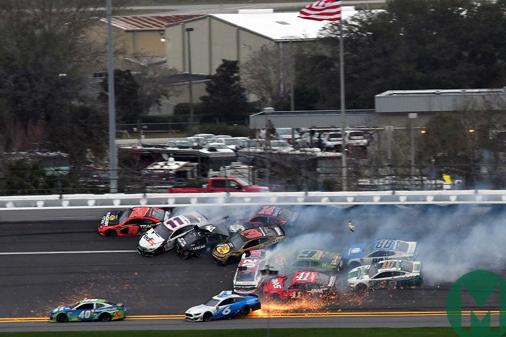 A mutli-car pile-up in the 2019 Clash at Daytona
