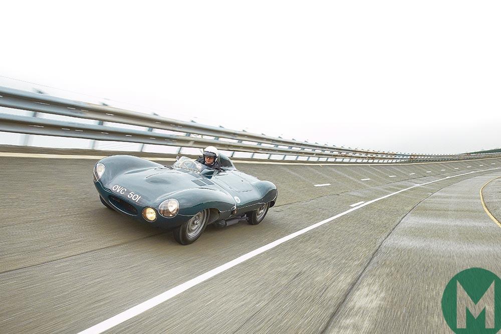 Andrew Frankel driving a Jaguar D-Type