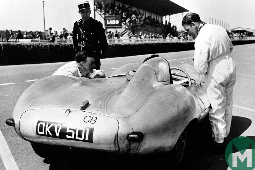 Jaguar D-type OVC 501 testing at Le Mans in 1954