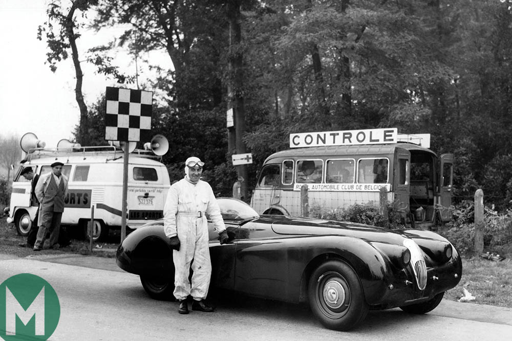 Norman Dewis with the modified Jaguar XK120 in Jabbeke, 1953