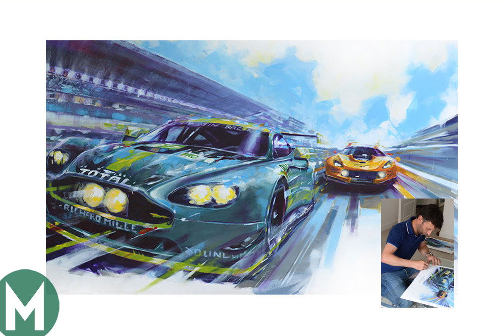Aston Martin Le Mans-winning print from artists Andrew Hill