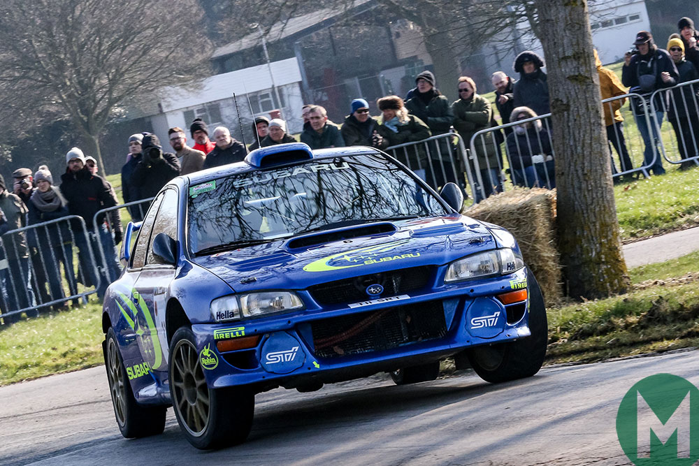 WRC Subaru on the Race Retro Live Rally Stage