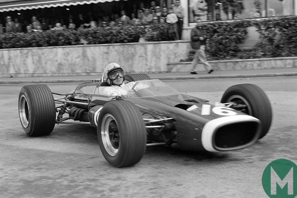 1967 Bruce McLaren at Monaco with the McLaren M4B