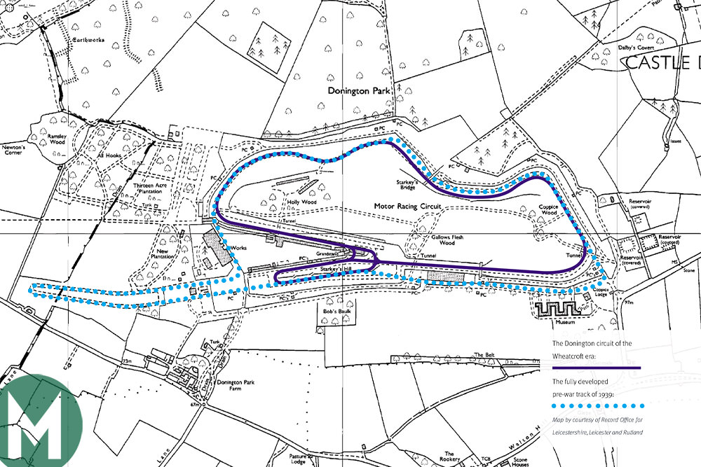 Present day Donington Park track map and pre-war track, dotted