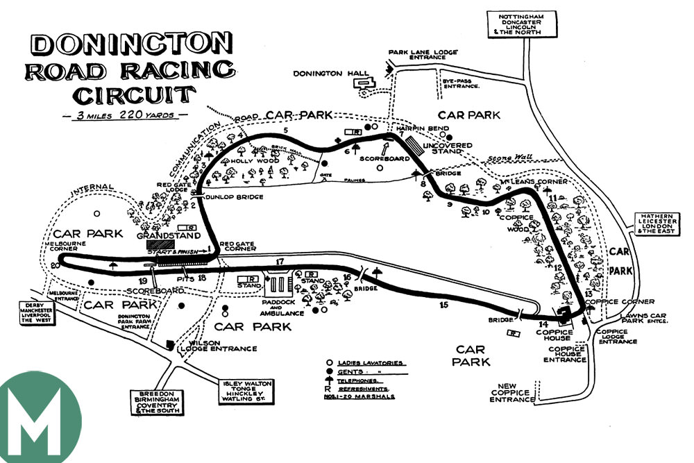Donington Park pre war map