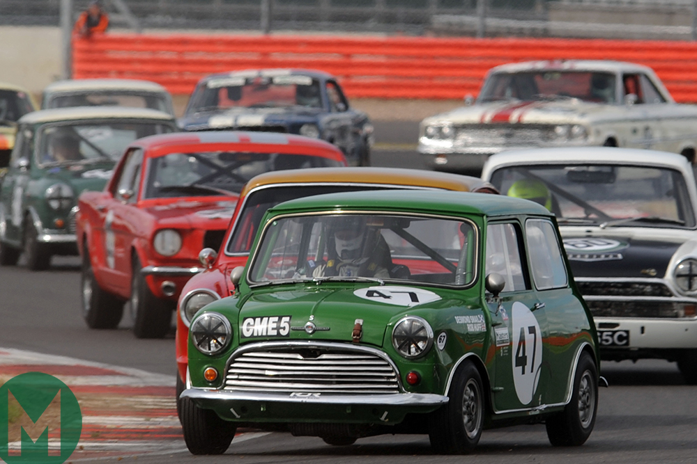 Minis racing at the Silverstone Classics