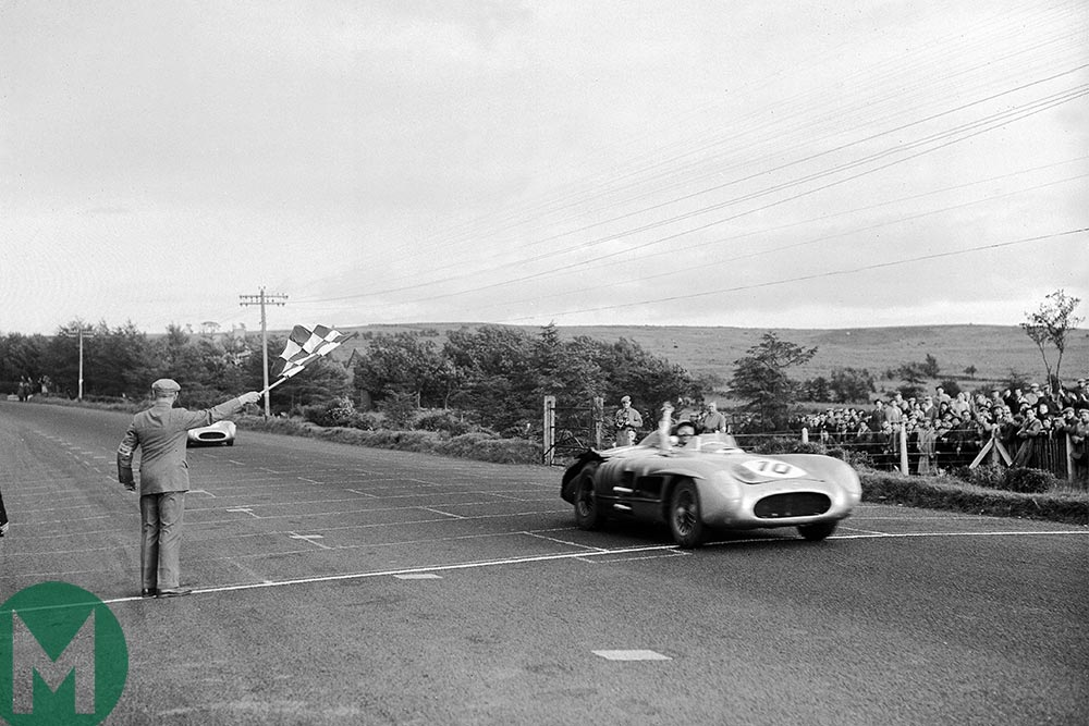 Stirling Moss wins 1955 Ulster Tourist Trophy on his birthday