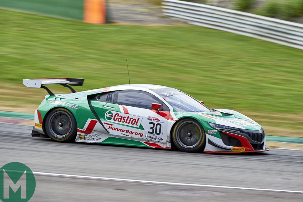 The Honda NSX GT3 that Riccardo Patrese will race at the Spa 24 Hours