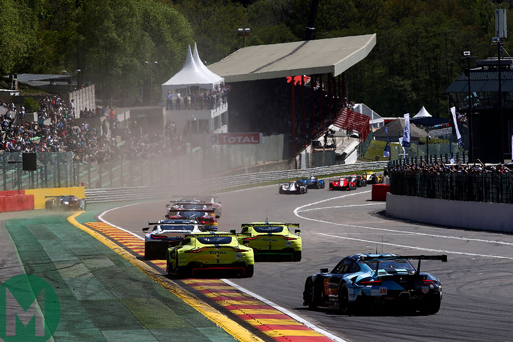Aston Martin and others battles in the 2018 Spa 6 Hours GTE-Pro pack