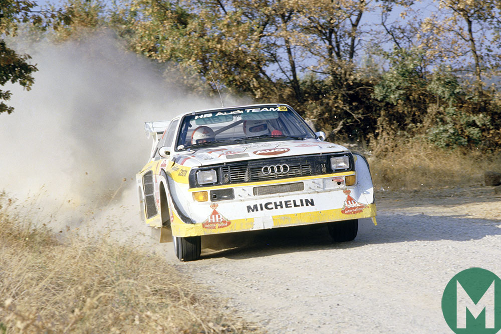 Walter Röhrl in the Audi Quattro in the 1985 Sanremo Rally