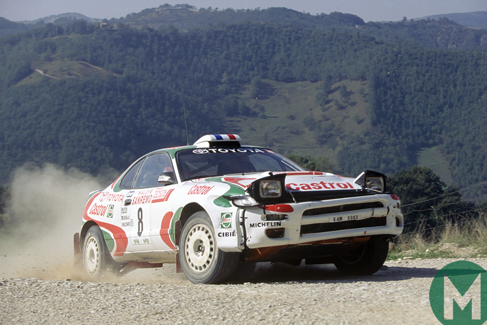 Didier Auriol in the Toyota Celica on the way to winning the 1994 Rallye Sanremo