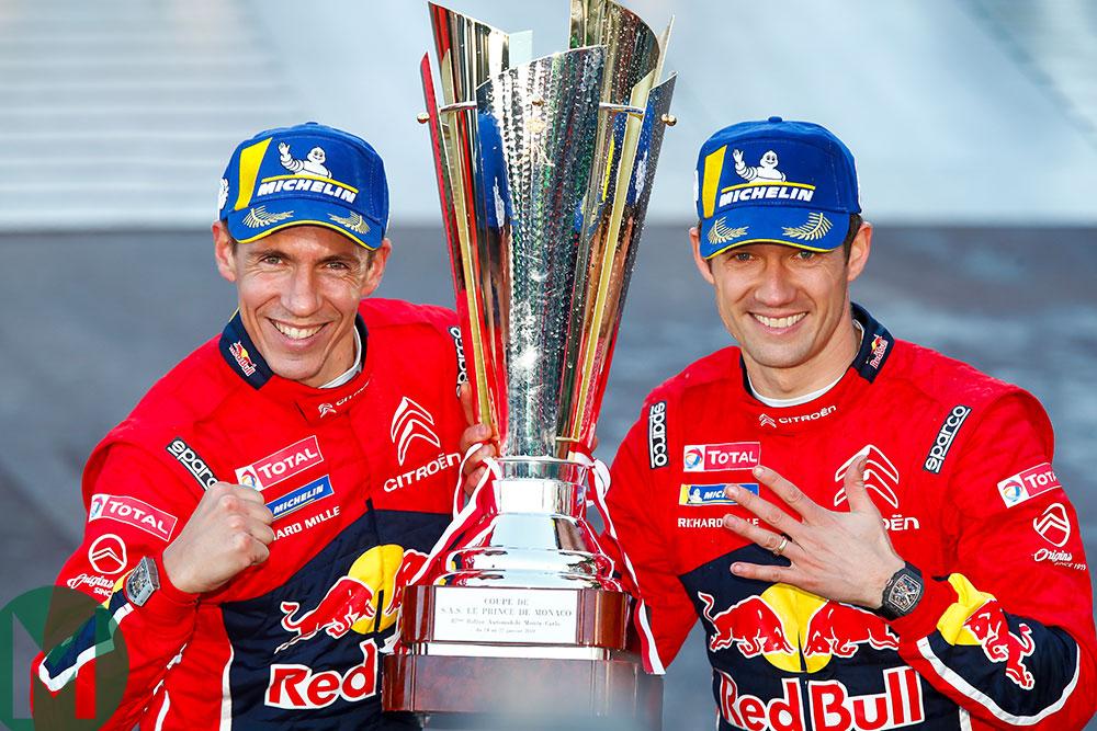Sébastien Ogier and Julien Ingrassia celebrate their 2019 Monte Carlo Rally win
