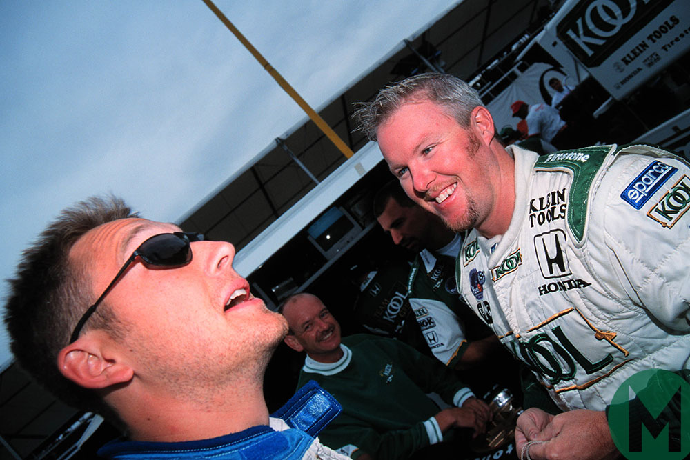 Greg Moore shares a joke with Paul Tracy at Vancouver in 1999 CART