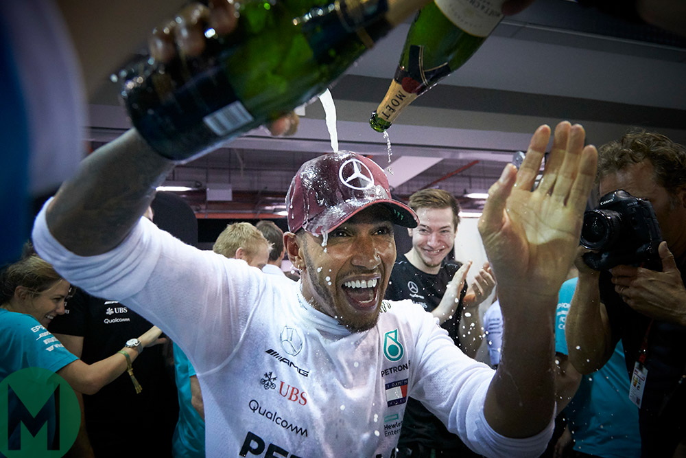 Lewis Hamilton celebrates Singapore F1 Grand Prix win 2018