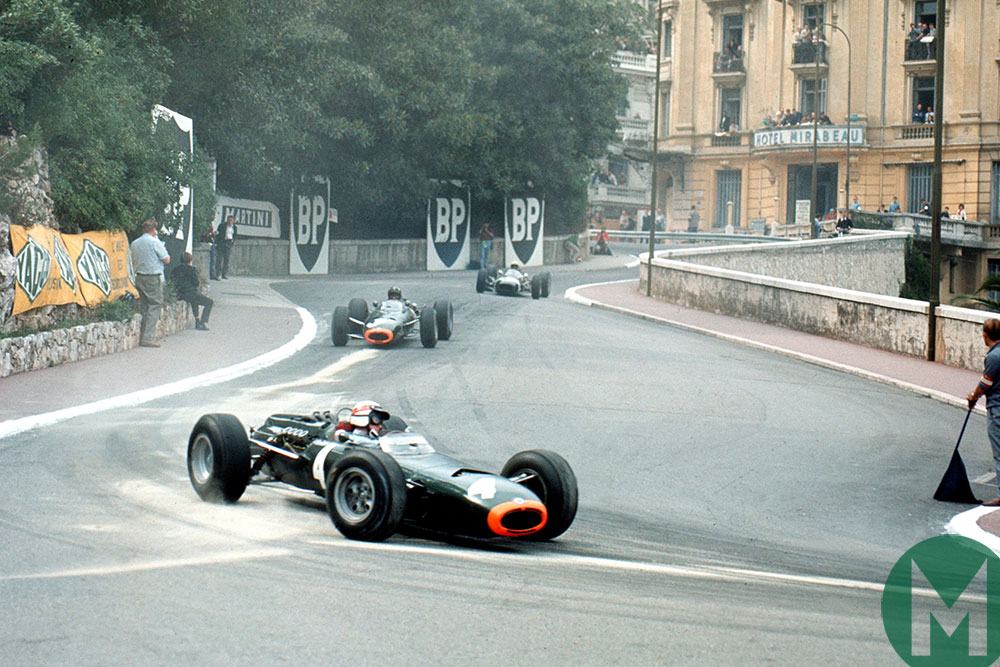 Jackie Stewart in a BRM in the 1965 Monaco GP