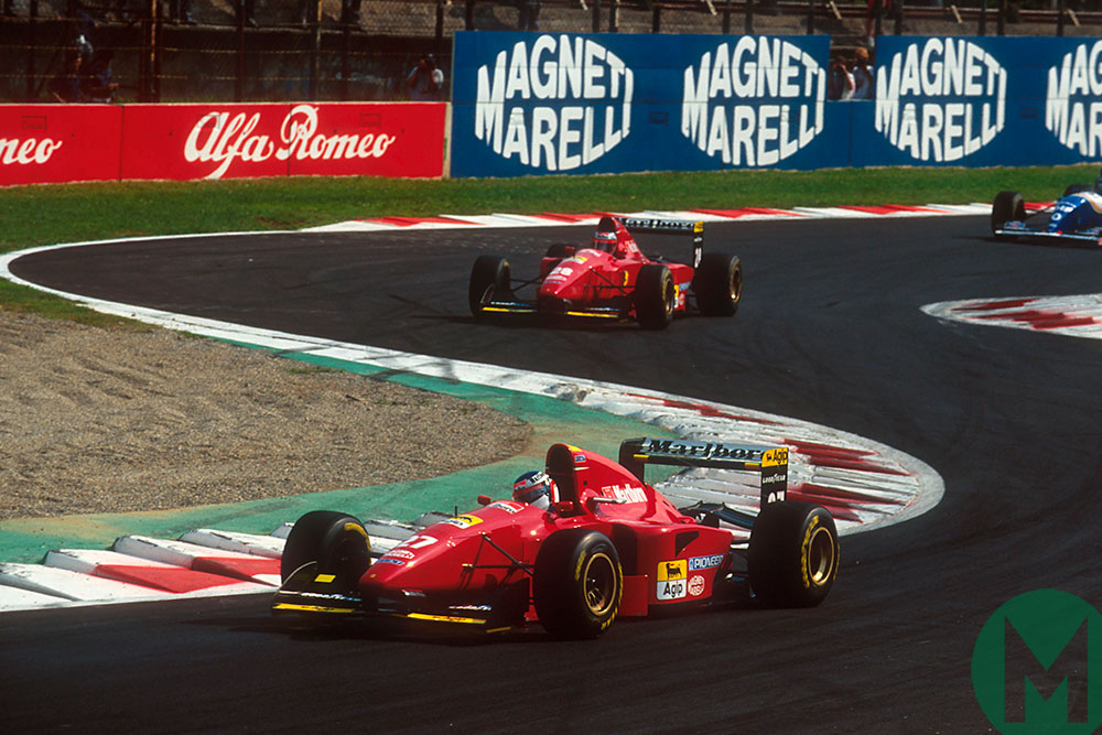 Jean Alesi in a Ferrari at the 1994 Italian GP