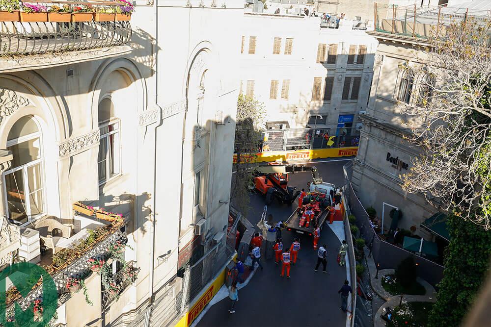 Charles Leclerc 2019 Baku F1 GP qualifying crash