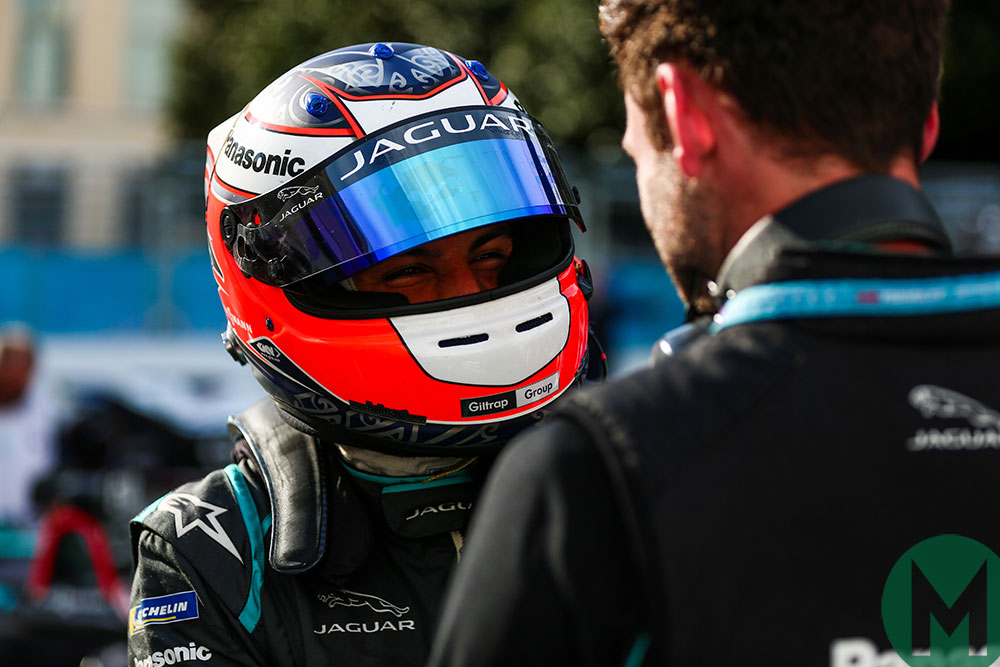 Mitch Evans celebrates after his and winning Jaguar's first Formula E race