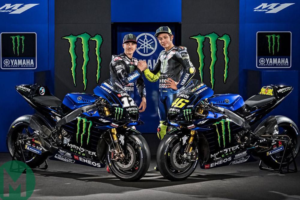 Maverick Viñales and Valentino Rossi pose with the new Yamaha livery for 2019